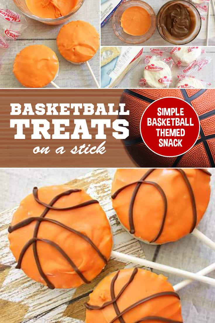 If you're looking for a simple and fun Basketball snack for the team or a party, look no further! These basketball treats on a stick are the perfect snack for a team party or after-game snack! via @SidelineWarrior