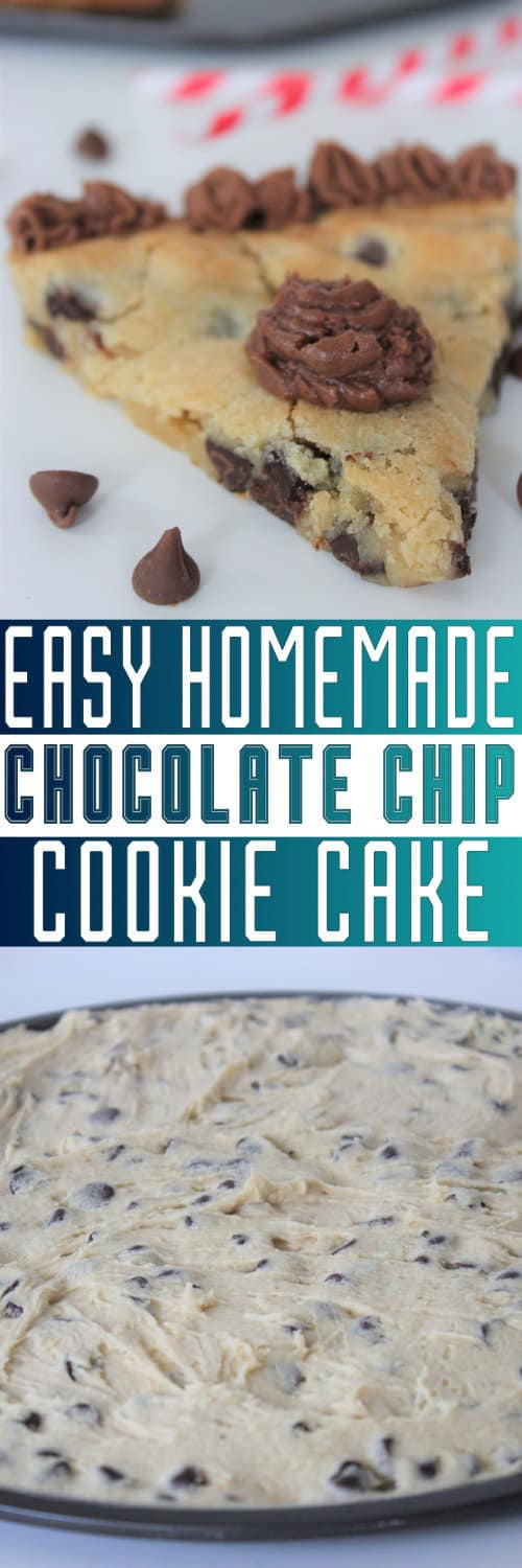 Cookie cake recipe that is EASY and SIMPLE to make if you need to know how to make a cookie cake! Directions include the homemade version, premade substitutions, as well as cookie cake icing.
