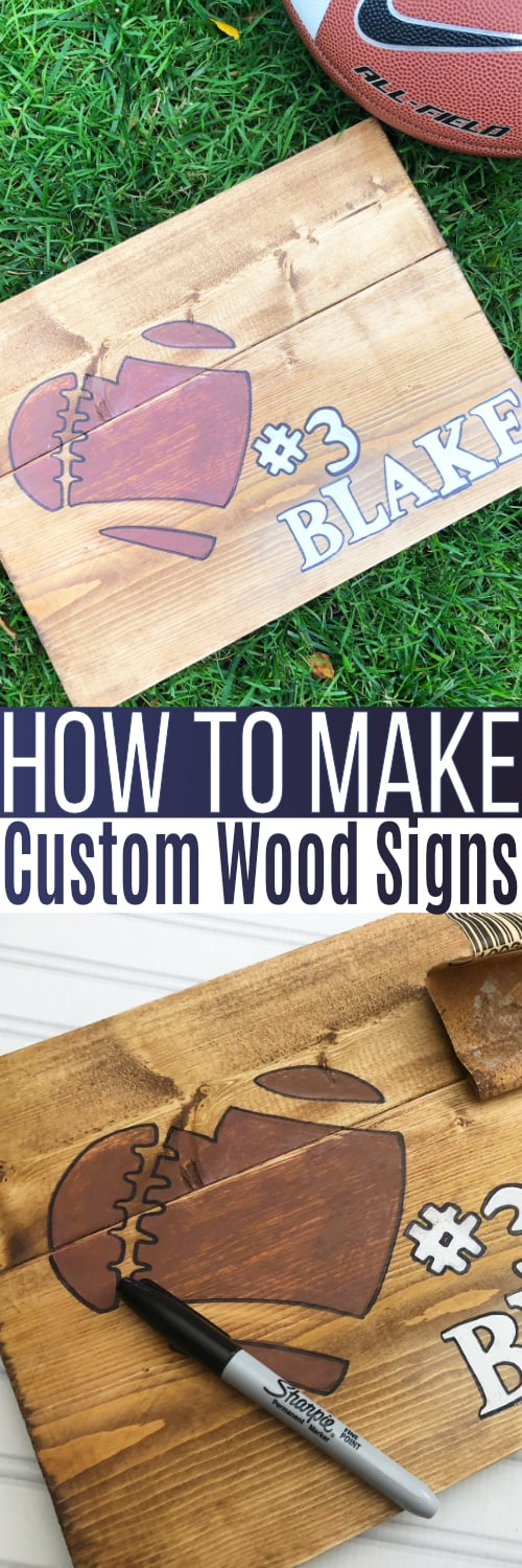 Wood Signs DIY that is simple to make and inexpensive too! You can make your own sayings, use stencils, trace with sharpie or paint everything.  So easy and great for rustic farmhouse decor! via @SidelineWarrior