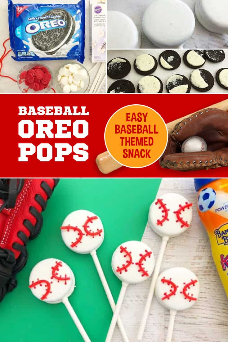 If you're looking for a baseball team snack, look no further! These Baseball Oreo Pops would be great for a season-end party, or a little league team snack! via @SidelineWarrior